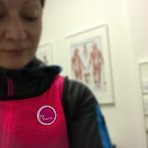 Jog Leader Jill Fairbairn wears the I'm here badge